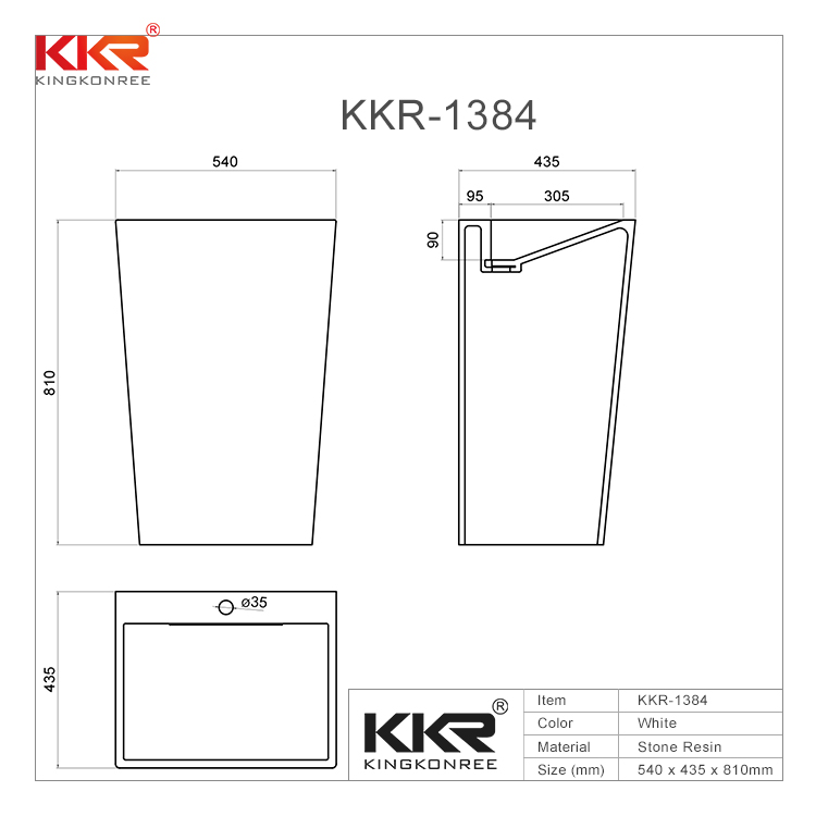KingKonree Bathroom Ware Acrylic Solid Surface Freestanding Basin KKR-1384 Freestanding Basin image41