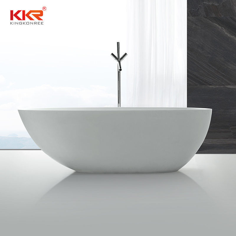 KingKonree Ellipse Oval Shape White Matt Solid Surface Bath Tub KKR-B001 Solid Surface Bathtub image37