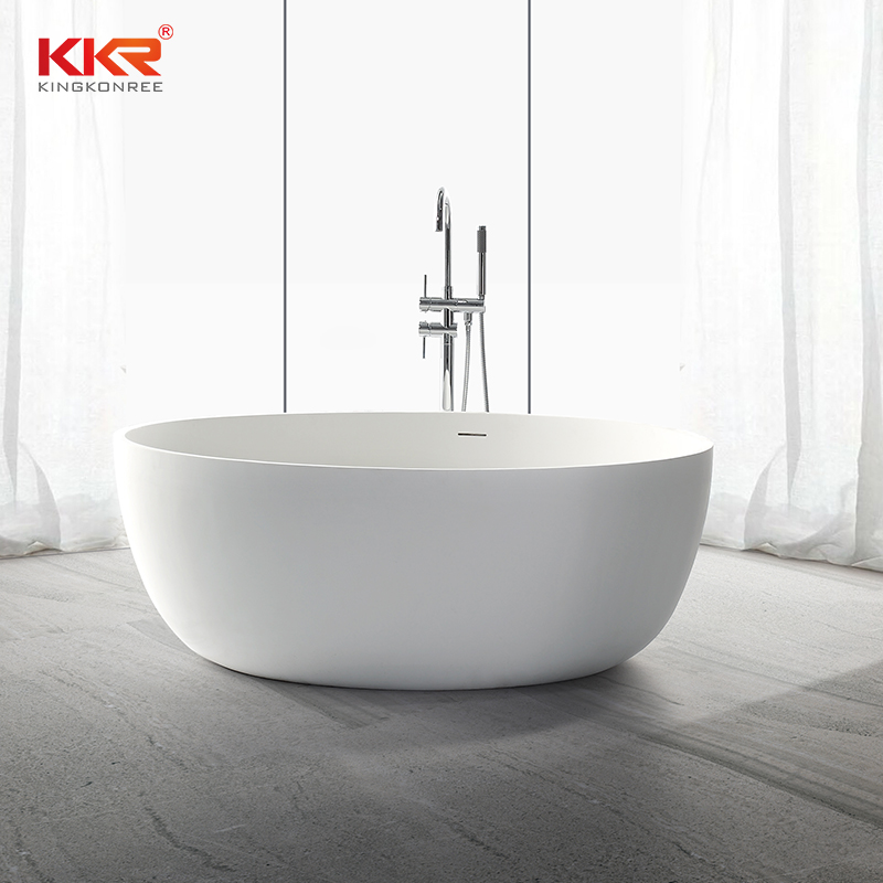 Small Size Round Acrylic Solid Surface Freestanding Bathtub KKR-B002