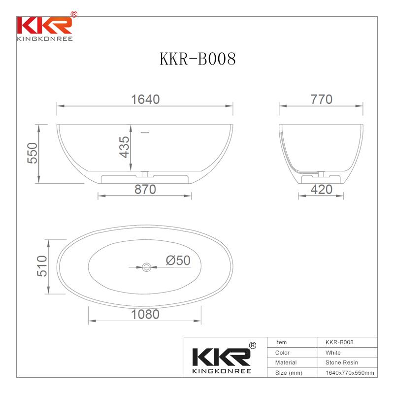 Hot Selling Acrylic Solid Surface Bathtub With Modern Design KKR-B008