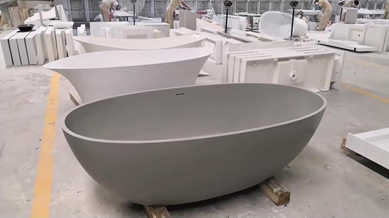 New Color Grey Marble Acrylic Solid Surface Bathtub KKR-B003
