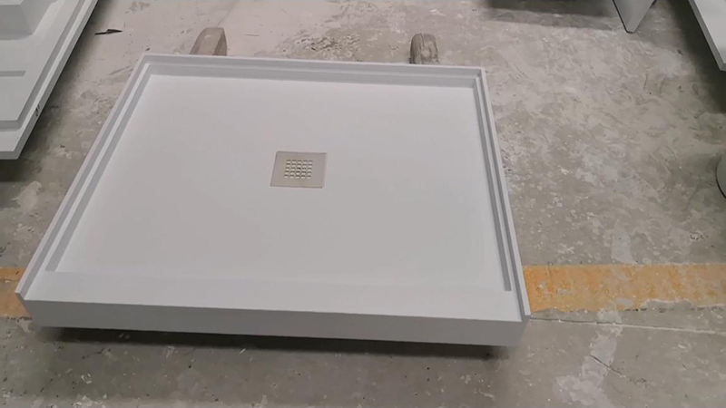 Customized White Marble Acrylic Solid Surface Shower Tray