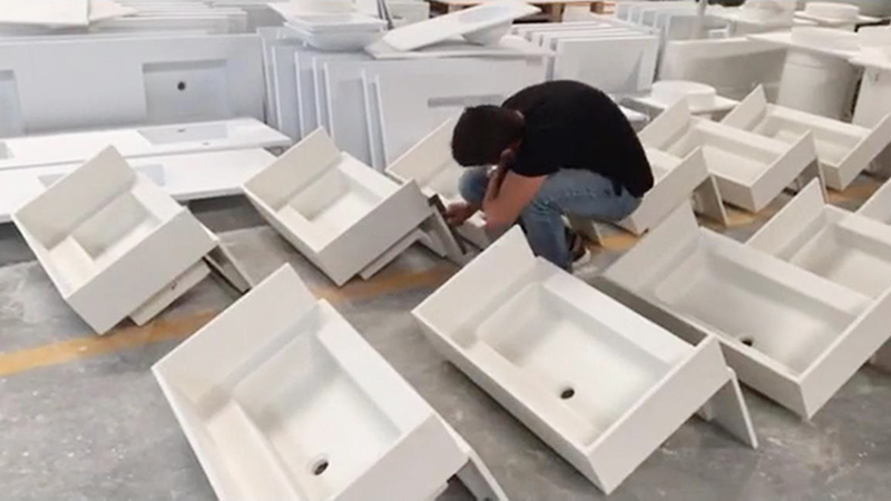 Full Inspection on Customized Solid Surface Wash Basin