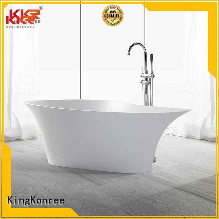 freestand white solid surface bathtub stone KingKonree company