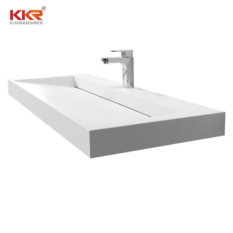Royal White Small Slope Design Solid Surface Cabinet Basin KKR-1264