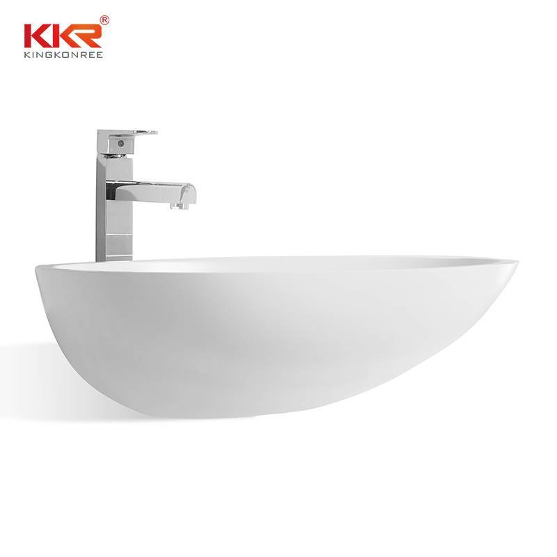 High Quality Oval Shape Acrylic Solid Surface Above Counter Basin KKR-1310