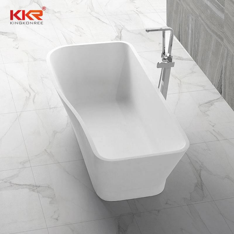 KingKonree Small Size Royal White Rectangle Solid Surface Bathtub KKR-B005 Solid Surface Bathtub image32