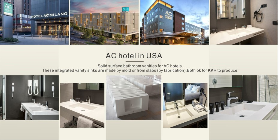 Solid surface bathroom vanities for AC hotels