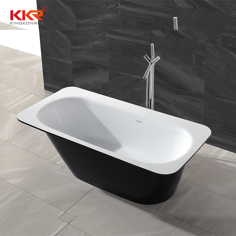 Black outside and white inside resin stone solid surface free standing bathtub KKR-B024