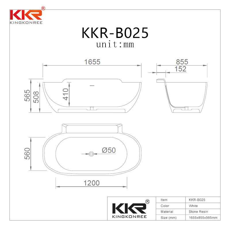 KKR Wholesale artificial stone freestanding solid surface soaking bathtub KKR-B025