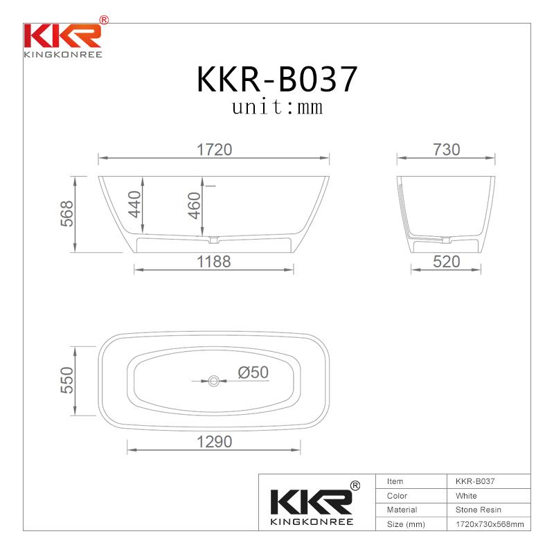 Solid surface resin stone freestanding bathtubs KKR-B037