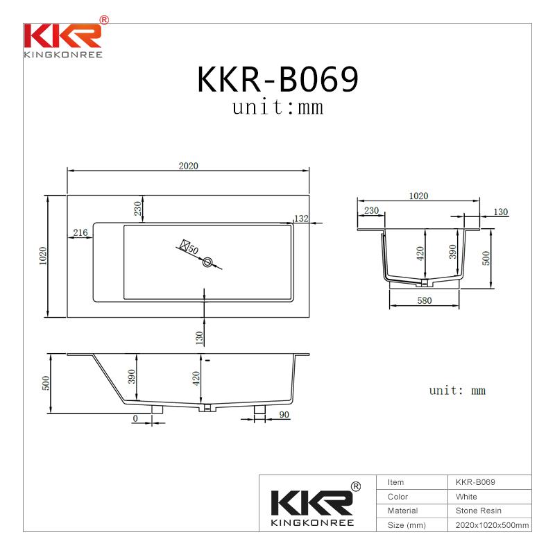 KingKonree Rectangle freestanding solid surface wall against bathtub with storage shelves KKR-B069 Solid Surface Bathtub image21