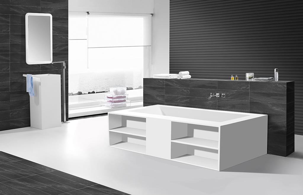Wholesale modern white solid surface bathtub KingKonree Brand