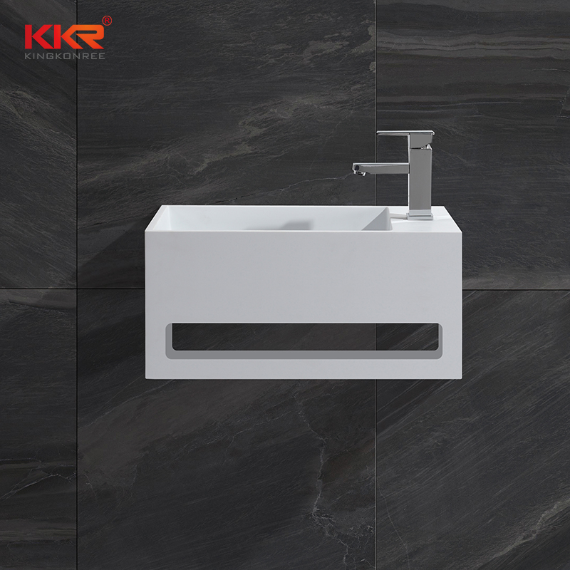 Hot sales small size acrylic solid surface resin stone wall mounted wash basin with towel hanger KKR-1105-A