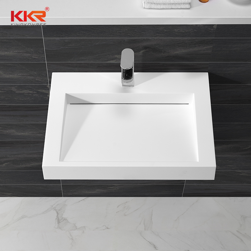 Best selling modern design solid surface square wall hung wash basin KKR-1260