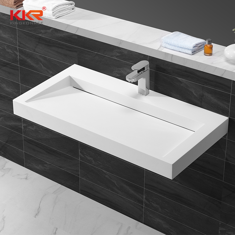 KingKonree Rectangle acrylic solid surface wall hung basin with slope design KKR-1262 Wall Mount Basin image18