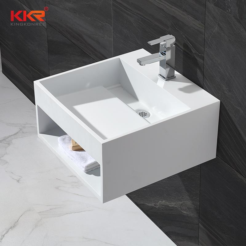 KingKonree Wall mounted white marble acrylic solid surface square wasb basin KKR-1361 Wall Mount Basin image17