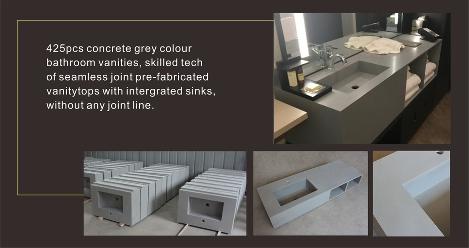 KKR Concrete Grey Bathroom Vanities For US Hotel