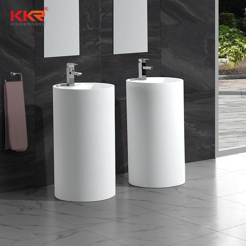 KKR Freestanding Modern Design Solid Surface Stone Bathroom Pedestal Wash Basin With Stand KKR-1380