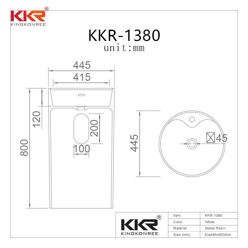 KingKonree KKR Freestanding Modern Design Solid Surface Stone Bathroom Pedestal Wash Basin With Stand KKR-1380 Freestanding Basin image14