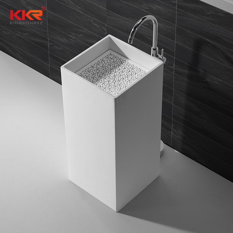 KingKonree Good quality square faux stone freestanding wash basin KKR-1382 Freestanding Basin image13