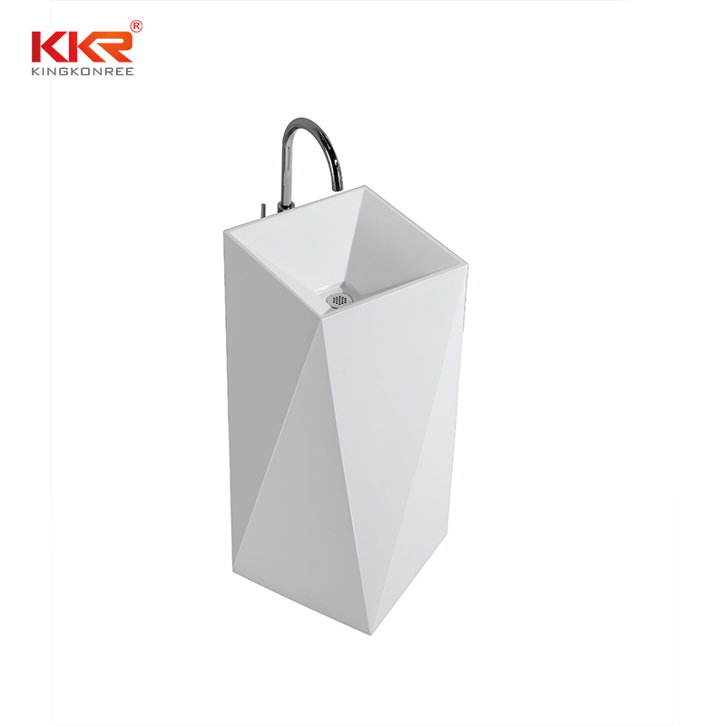 KingKonree Diamond design white marble acrylic solid surface bathroom wasn basin KKR-1387 Freestanding Basin image12