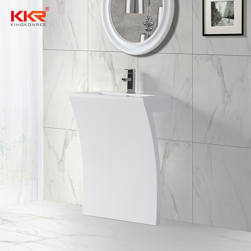 7 Shape unique design acrylic marble solid surface free standing wash basin KKR-1393