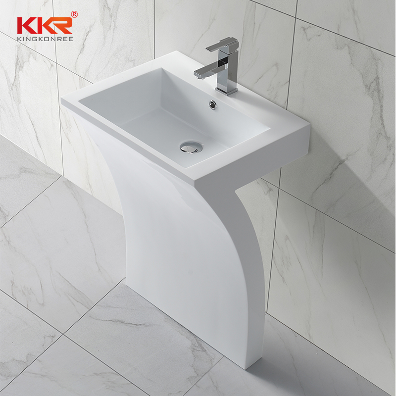 KingKonree 7 Shape unique design acrylic marble solid surface free standing wash basin KKR-1393 Freestanding Basin image11
