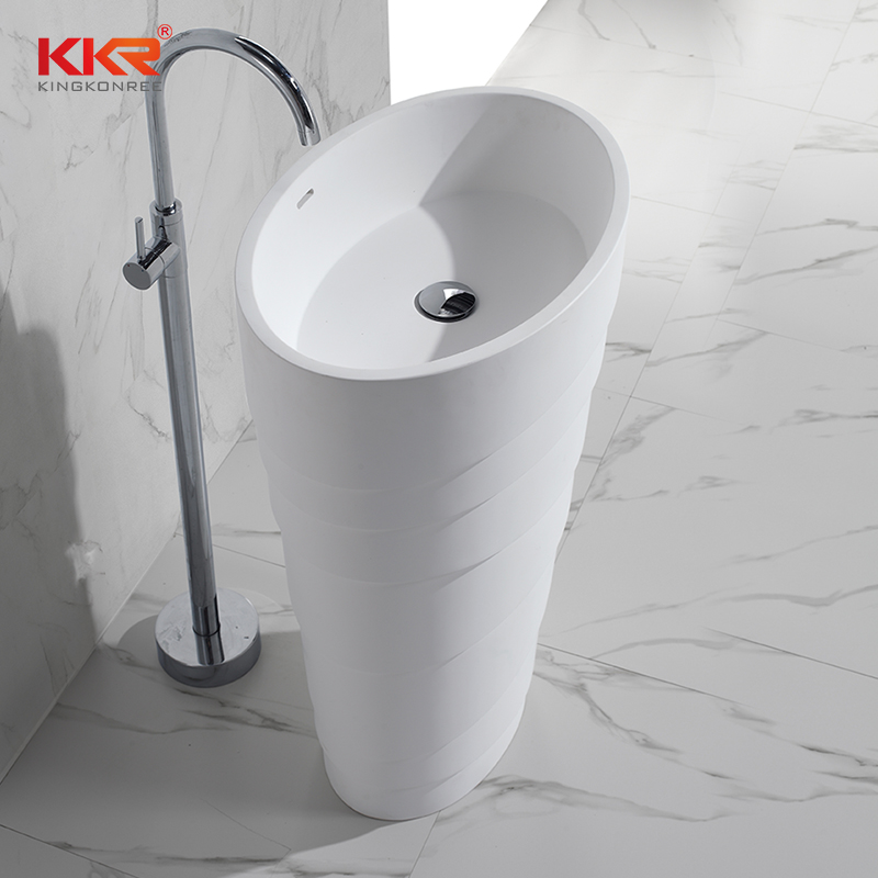 KingKonree New design artificial marble solid surface freestanding wash basin KKR-1398 Freestanding Basin image9