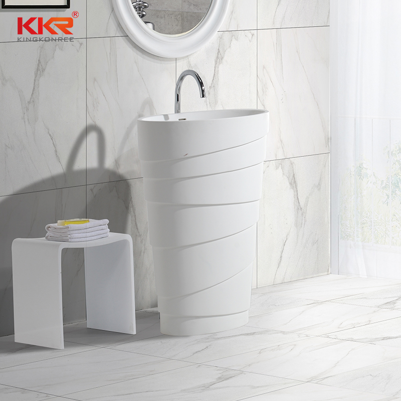 New design artificial marble solid surface freestanding wash basin KKR-1398