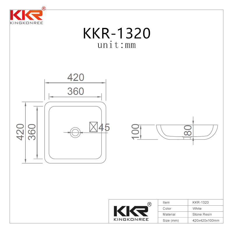 KingKonree Hot selling good quality bathroom solid surface wash basin KKR-1320 Above Counter Basin image7