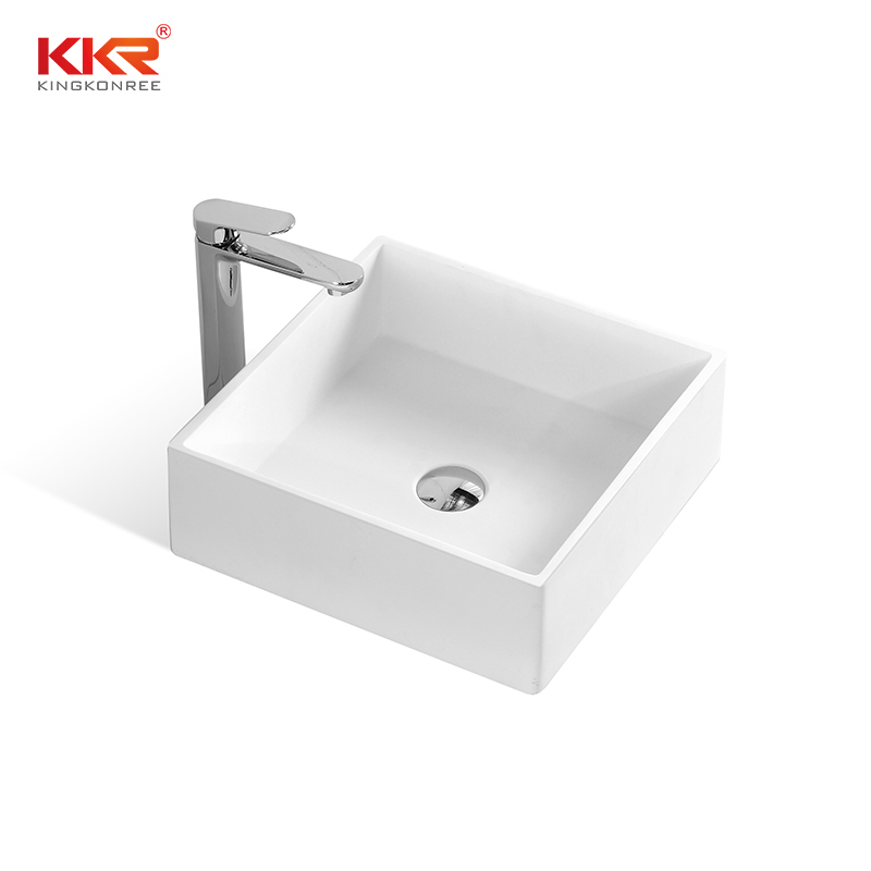 KKR High quality pure white square solid surface above counter basin KKR-1382-1