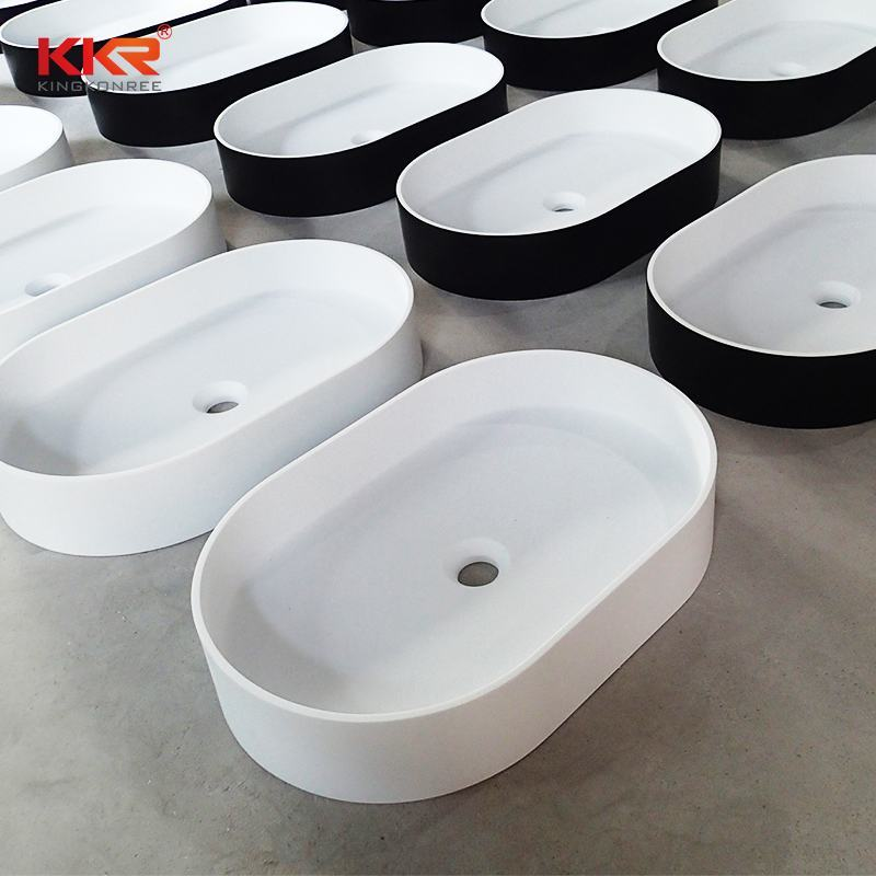KingKonree New Design High Quality Black Outside White Inside Above Counter Wash Basin KKR-1057 Above Counter Basin image5