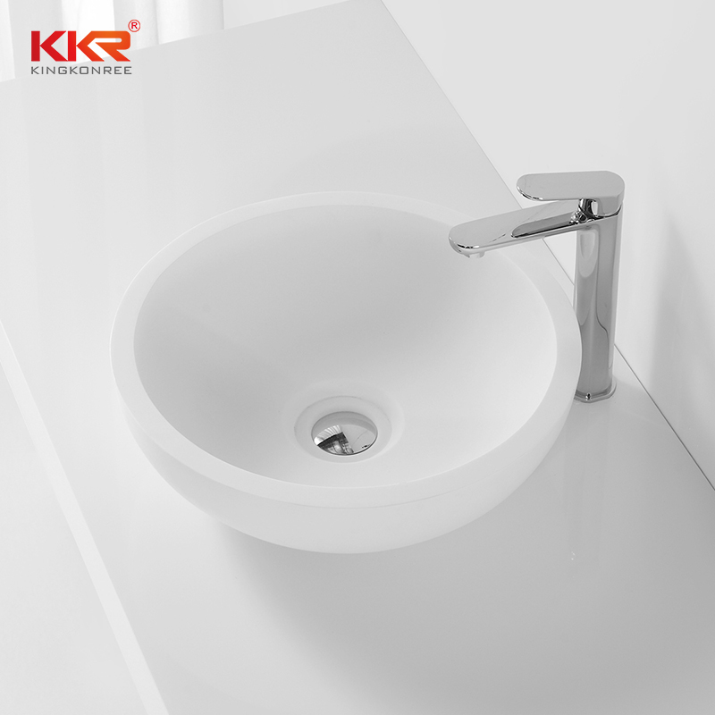 White Solid Surface Small Round Wash Basin KKR-1306