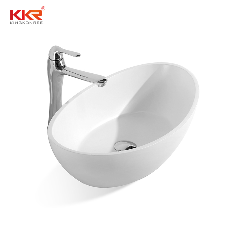 KingKonree White Marble Acrylic Solid Surface Above Counter Vessel Sink KKR-1307 Above Counter Basin image1