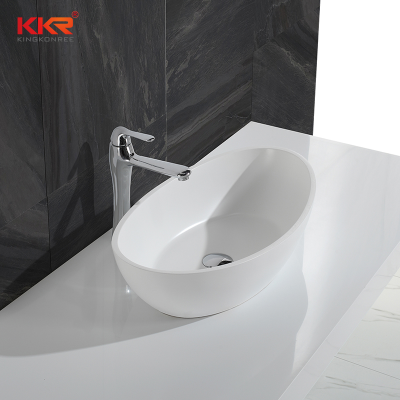 White Marble Acrylic Solid Surface Above Counter Vessel Sink KKR-1307