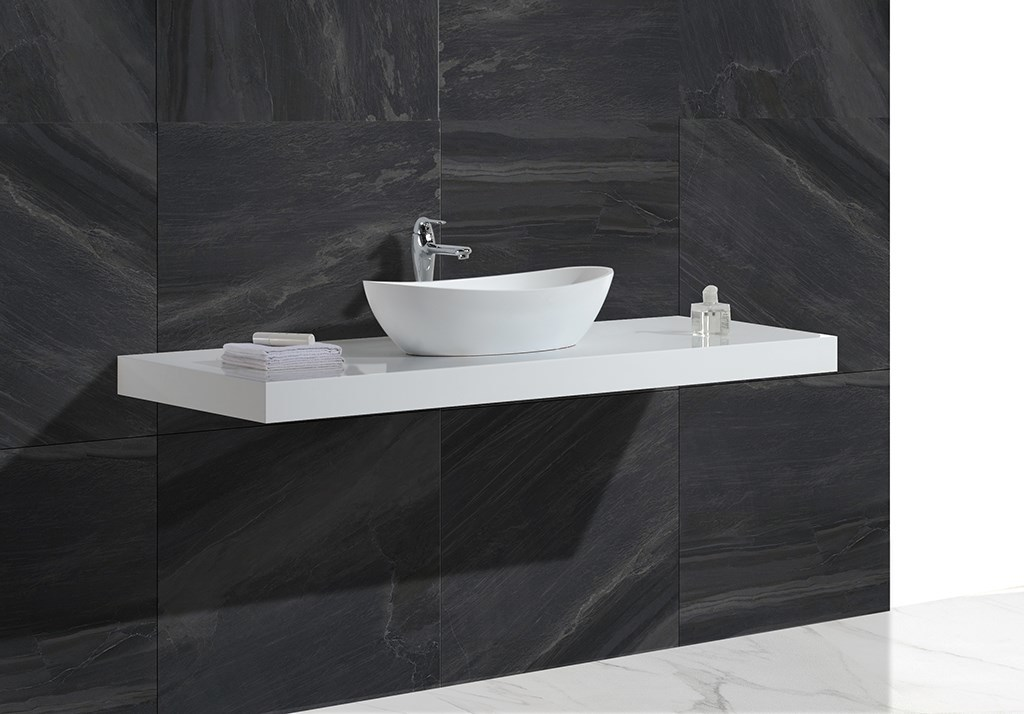 white artificial countertop above counter basins ware KingKonree Brand