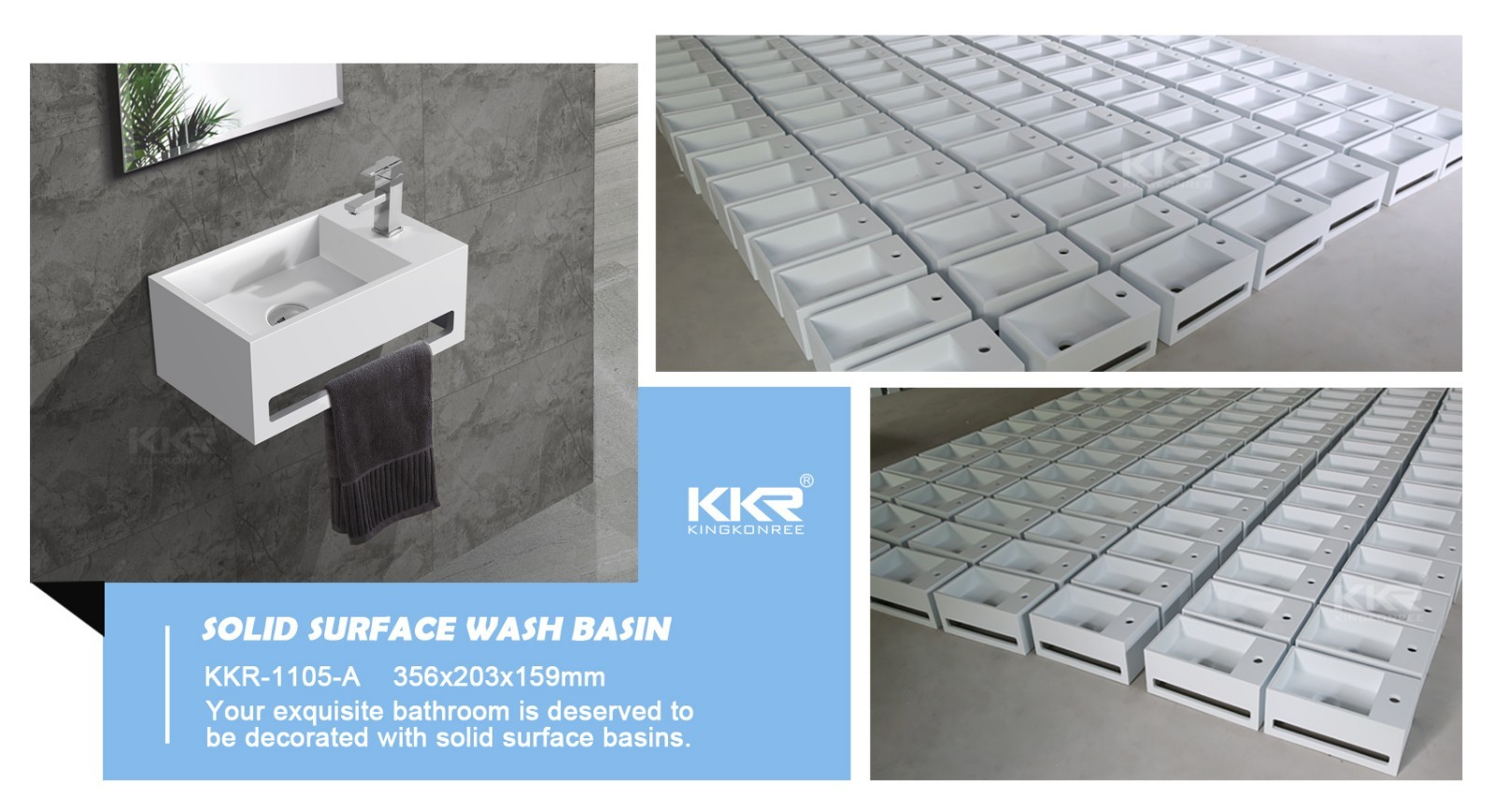 KingKonree Brand artificial slope surface custom wall mounted bathroom basin