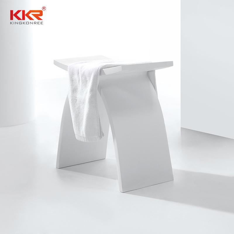 Design White Acrylic Solid Surface Bathroom Stool KKR-Stool-A