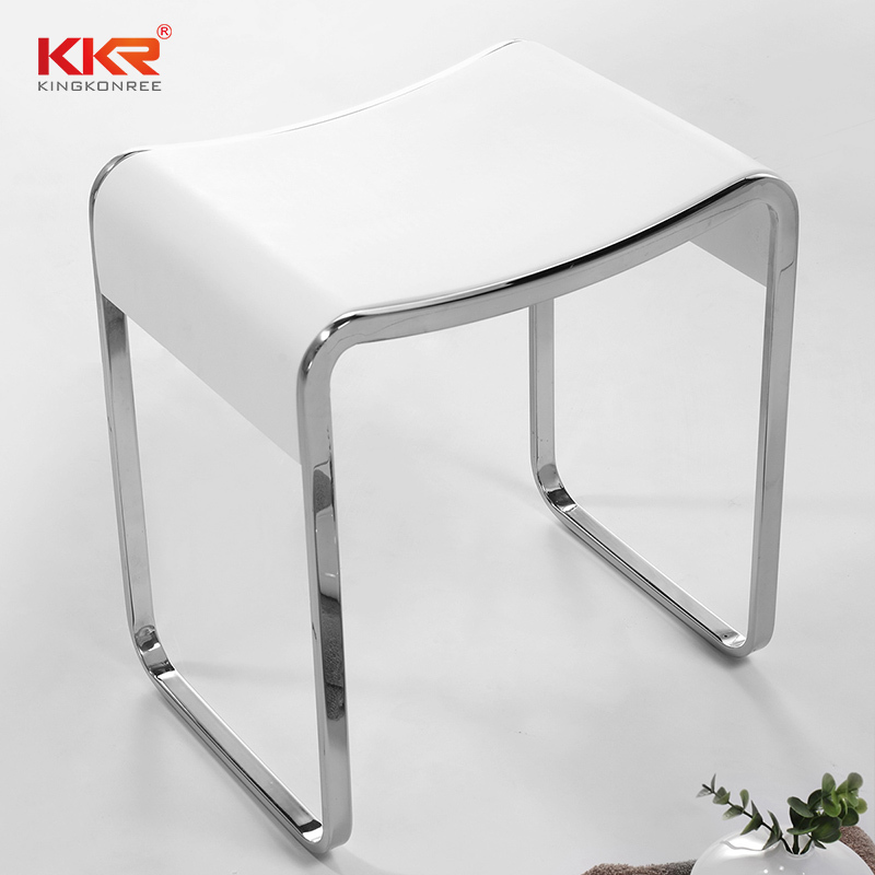 Acrylic Solid Surface Bath Stool With Stainless Steel Connecting Design KKR-Stool-E