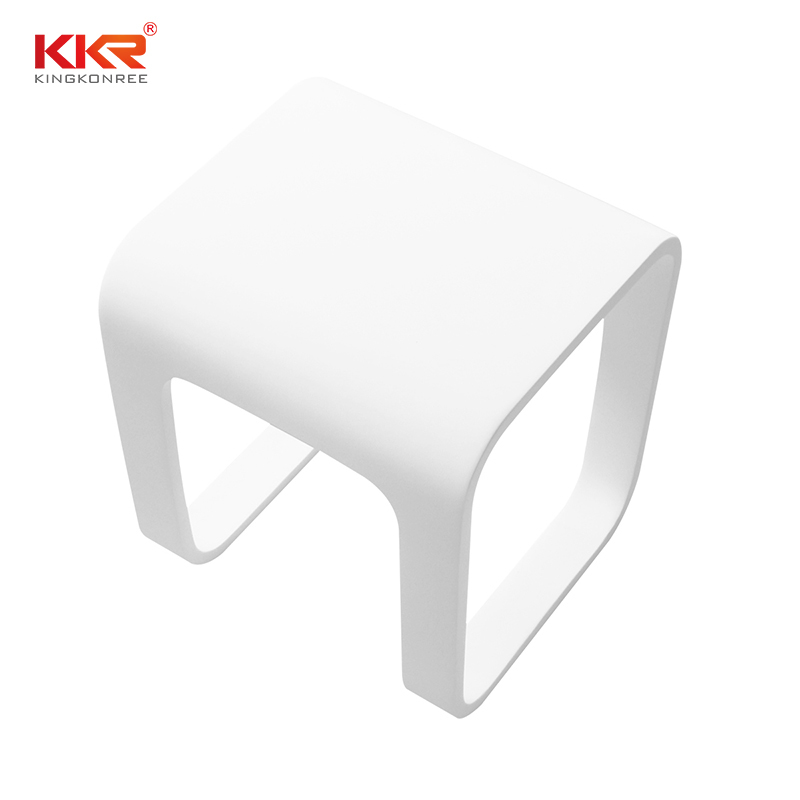 New Design Artificial Stone Acrylic Solid Surface Bathroom Stool KKR-Stool-F