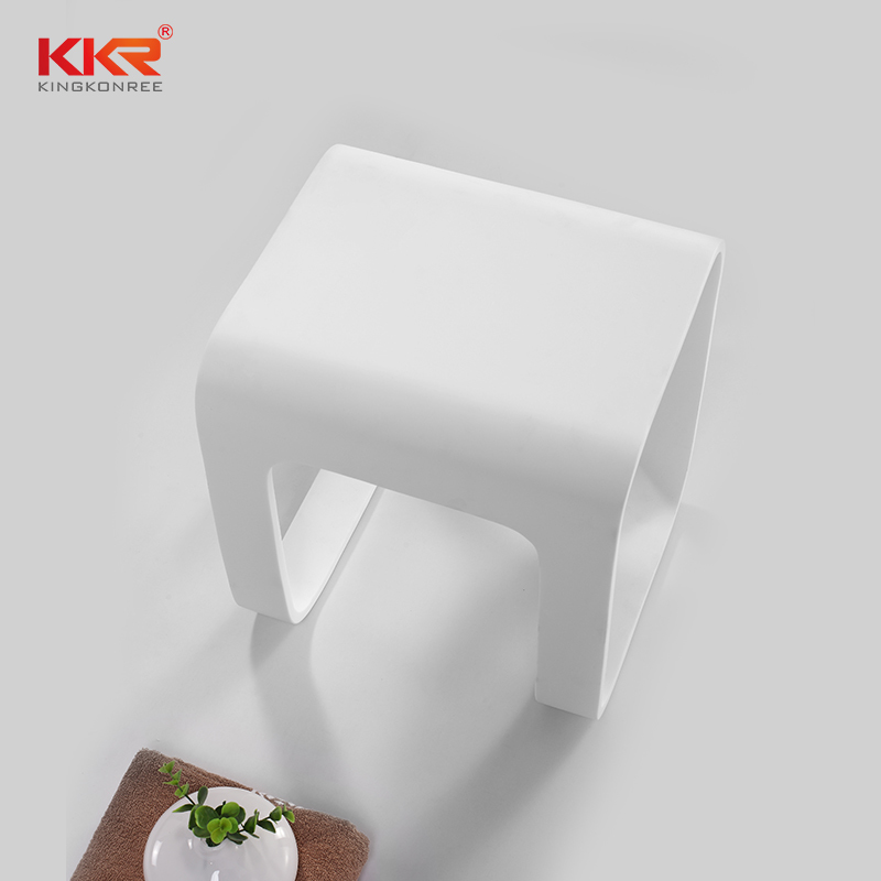New Design Artificial Stone Acrylic Solid Surface Bathroom Stool KKR-Stool-F