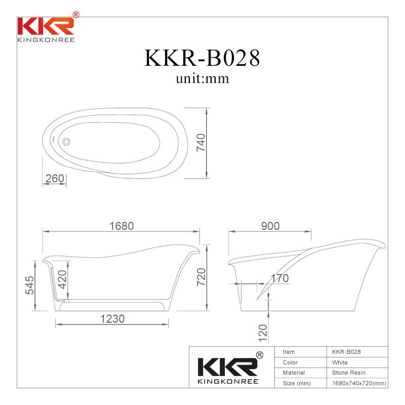 Modern Artificial Marble Acrylic Solid Surface Freestanding Bathtub KKR-B028