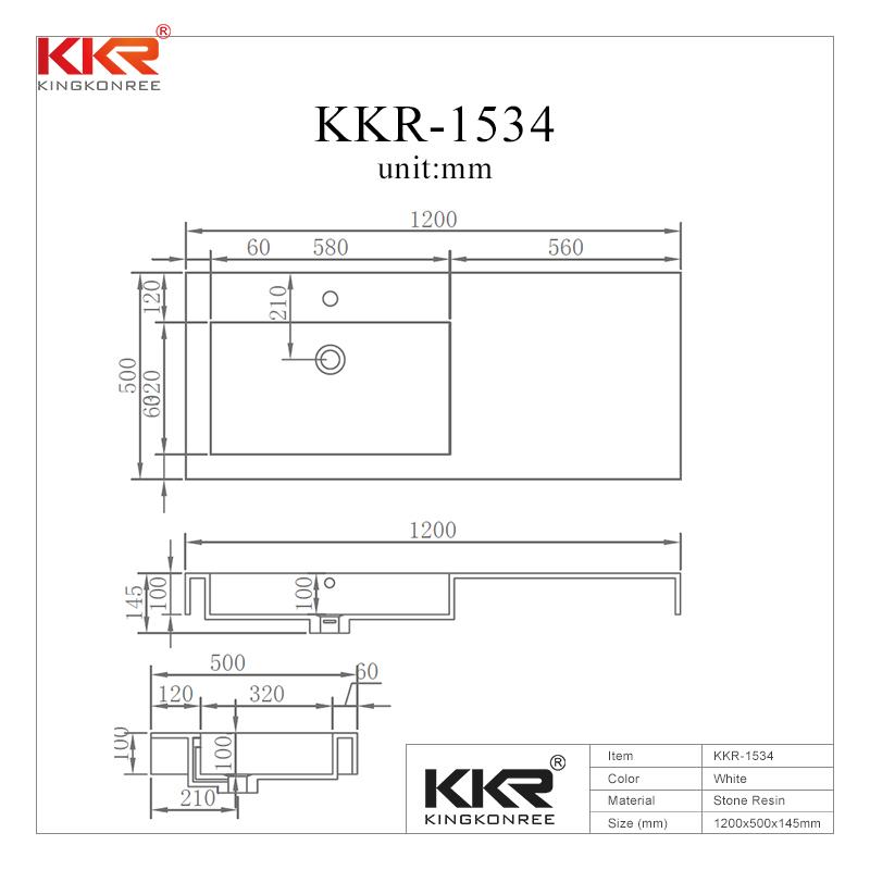 Dark Grey Acrylic Solid Surface Cabinet Basin KKR-1534