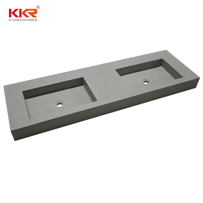 Concrete Color Double Sink Acrylic Stone Solid Surface Cabinet Basin KKR-1368