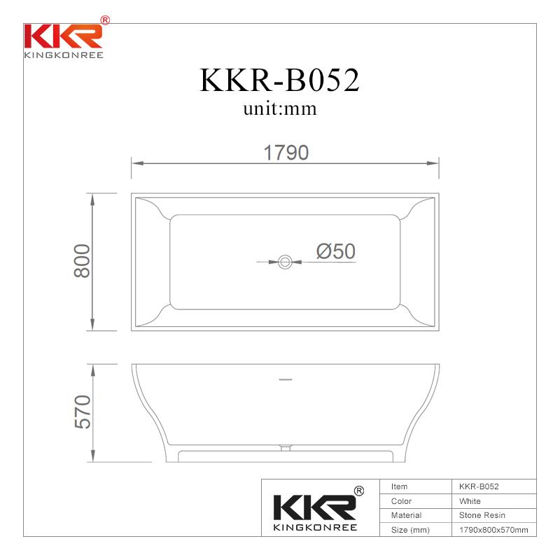 Rectangle Unique Design Polymarble Acrylic Solid Surface Freestanding Soaking Bathtub KKR-B052