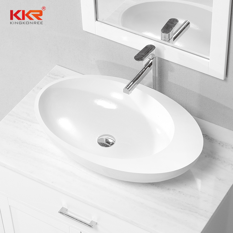 Egg Shape Resin Stone Acrylic Solid Surface Countertop Wash Basin KKR-1056
