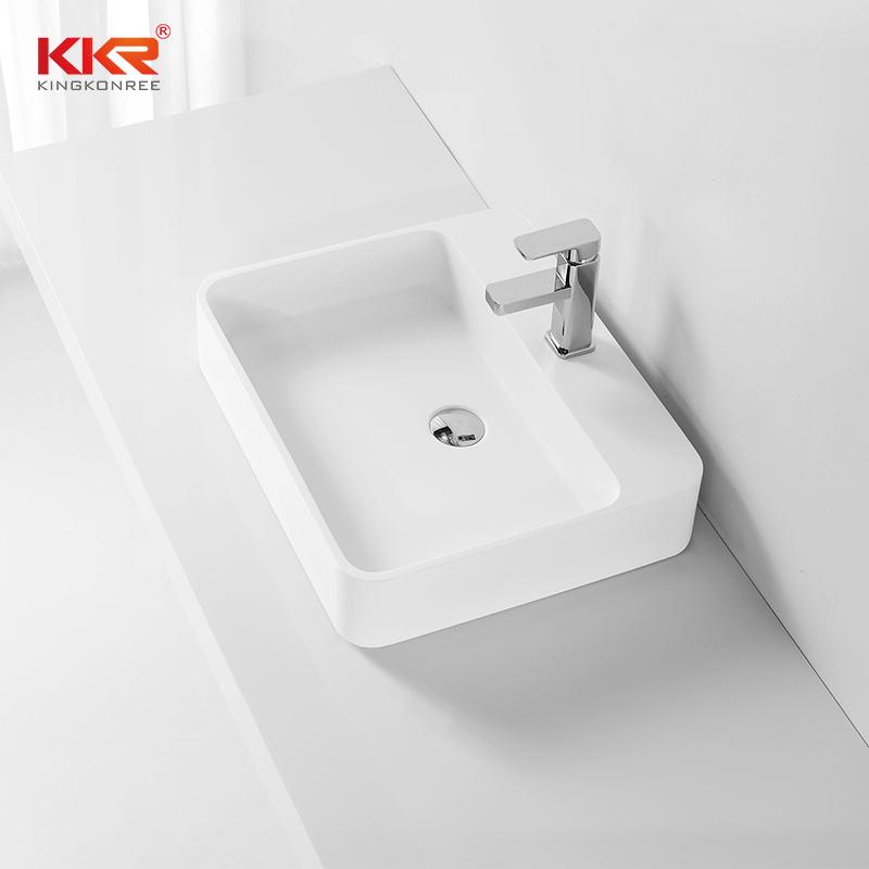 Acrylic Stone Solid Surface Rectangular Above Counter Wash Basin KKR-1370