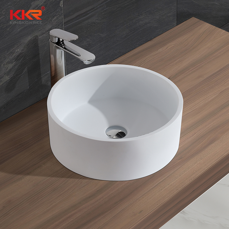 Round Shape Above Counter Solid Surface Wash Basin KKR-1386-2