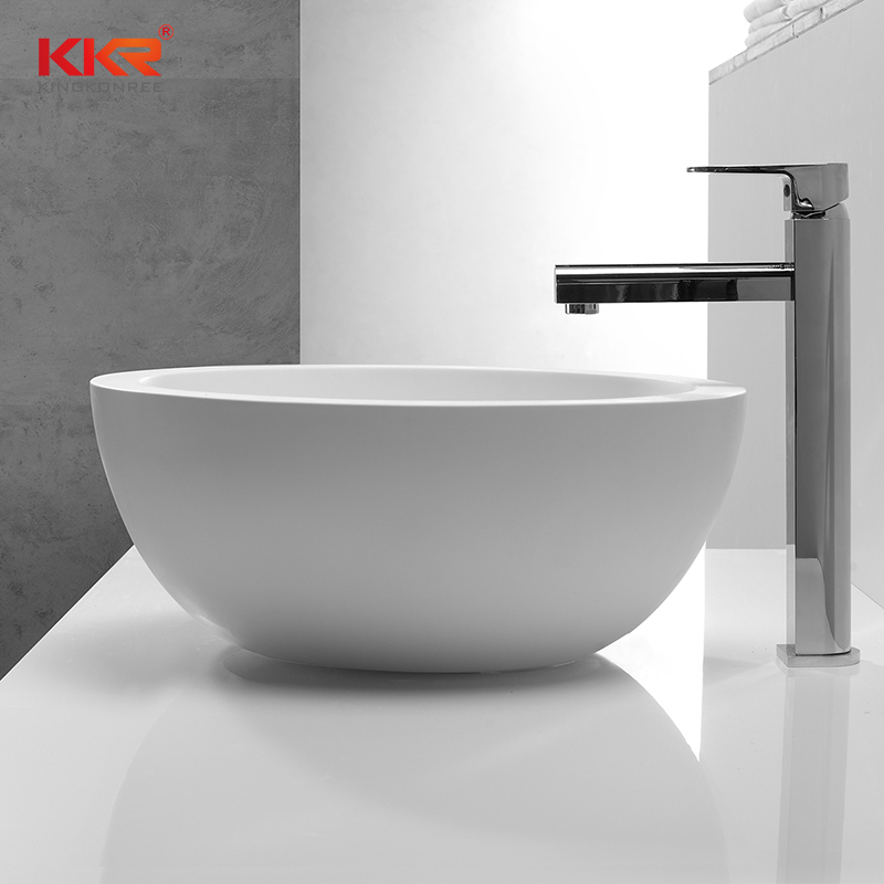422mm Diameter Artistic Round Solid Surface Above Counter Basin KKR-1501